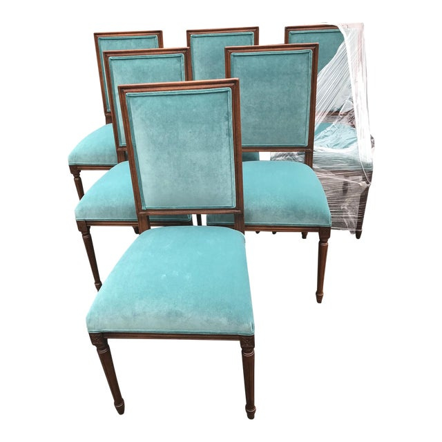 Custom Teal Velvet Dining Chairs - Set of 6 - Image 1 of 7