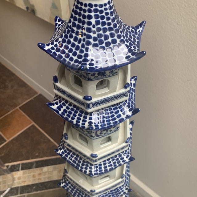 1970s Chinese Pagoda Ceramic Statue For Sale - Image 5 of 13