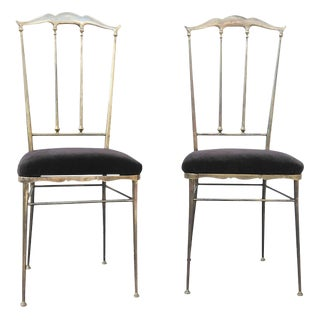 Chiavari Pair of Solid Brass Chairs, Italy, 1960s For Sale