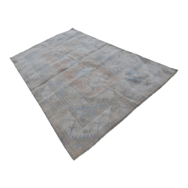 Distressed Oushak Hand Knotted Rug - 5′2″ × 8′4″ For Sale