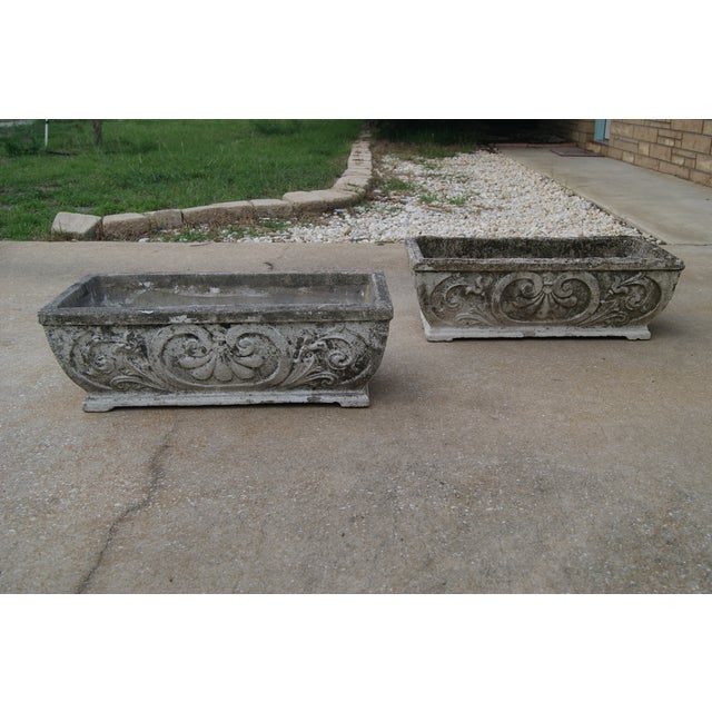 Antique Footed Concrete Rococo Style Planters - a Pair For Sale - Image 4 of 7