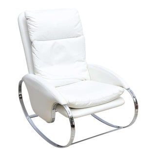 Milo Baughman Style Chrome Rocking Chair, Usa, 1970s For Sale