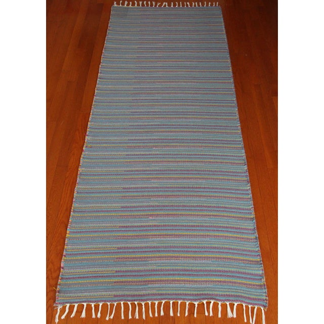 "Flat Weave Wool Striped Blue Kilim Rug - 2'8"" x 7'6"" - Image 4 of 10"