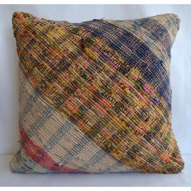 "16"" Pillow Cover Vintage Handmade Cotton Turkish Ragrug Kilim Sham Throw For Sale In Raleigh - Image 6 of 6"