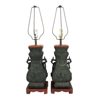 Archaic Chinese 'Hu' Form Verdigris Bronze Table Lamps, a Pair For Sale