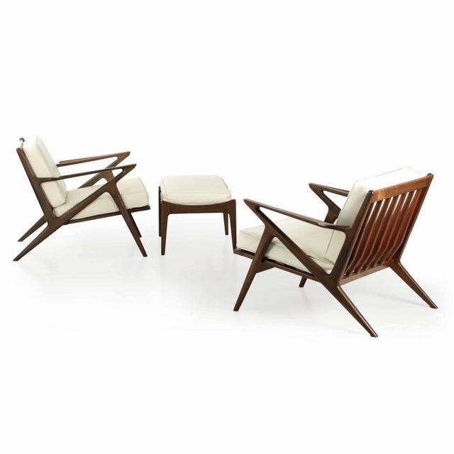 Poul Jensen For Selig Danish Modern Z Lounge Chairs Ottoman Set Of