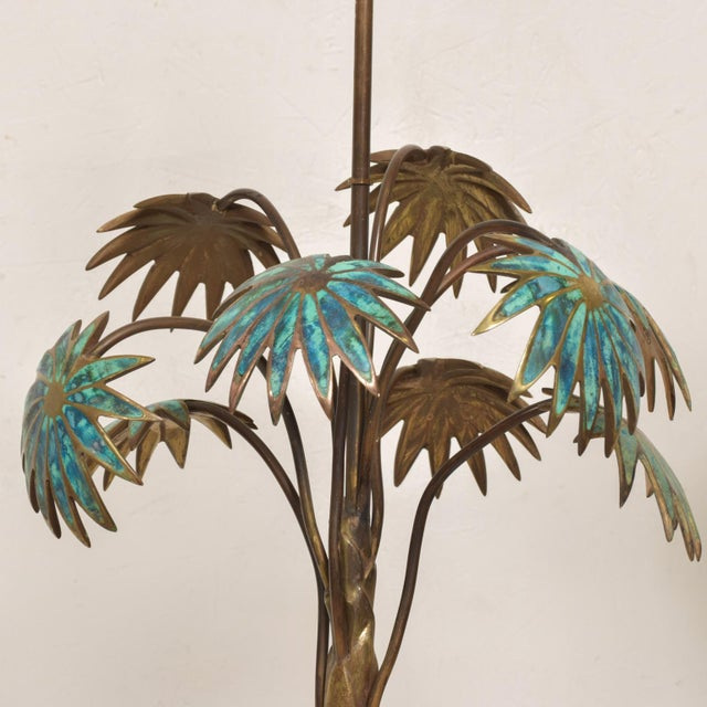 1950s 1950s Pepe Mendoza Palm Tree Table Lamp in Bronze & Malachite, Mexico For Sale - Image 5 of 11