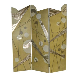 Art Deco Revival 3 Panel Folding Screen or Room Divider Gold Silver & Bronze For Sale