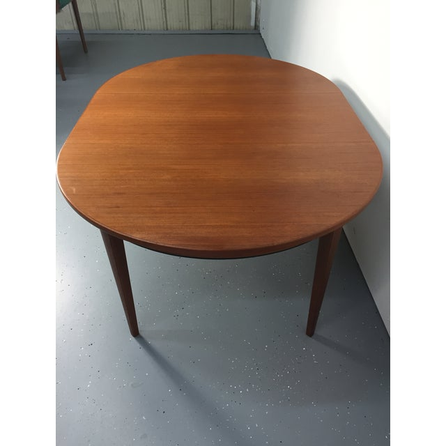 Danish Modern Solid Teak Expandable Dining Table - Image 9 of 11