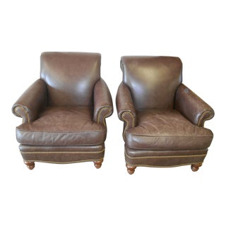 Leathercraft Sarato Brunett Leather Club Chairs - A Pair