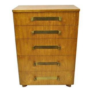 John Stuart Mid Century Modern Art Deco Birch Chest Of Drawers For Sale