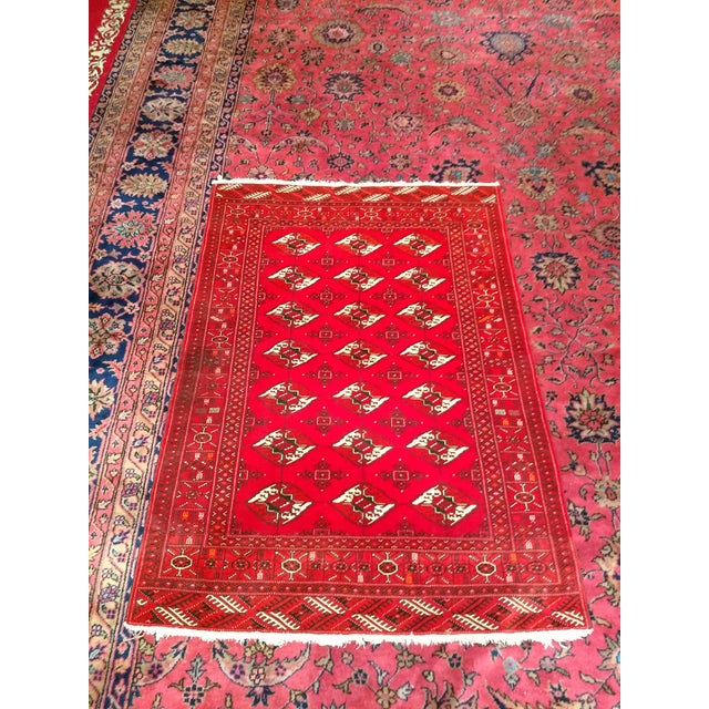 """Green 1960s Turkman Tribal Red and Cream Wool Carpet 4' X 5' 5"""" For Sale - Image 8 of 8"""