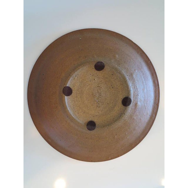 1970s David Westmeier Naturalistic Branch and Leaf Design Stoneware Pottery Ceramic Plate For Sale In New York - Image 6 of 6