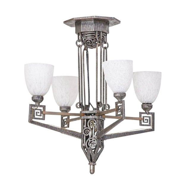 Edgar Brandt Style French Art Deco Chandelier For Sale
