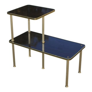 1940s Art Deco Mahogany and Brass Gueridon Side Table For Sale