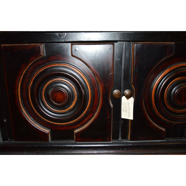 Vintage Circle Motif Wood Armoire - Image 4 of 7