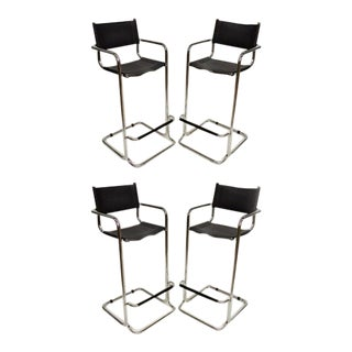 Mart Stam Black Leather & Chrome Italian Mid Century Modern Barstools Set of 4 For Sale