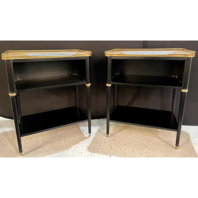 Pair of Hollywood Regency Nightstands or End Tables in the Manner of Jansen For Sale - Image 4 of 13
