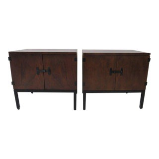Milo Baughman Walnut Nightstands for Directional - a Pair For Sale