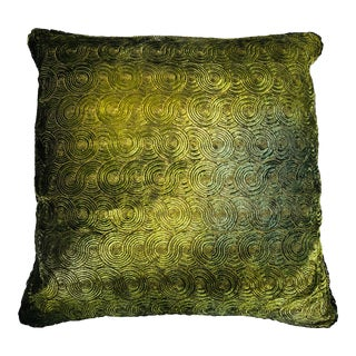 Richard Fischer Christmas Collection Hand Painted Embroidered Velvet Pillow With Swarovski Crystals Trim-Green For Sale