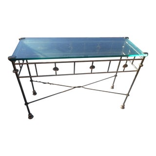1960s Hollywood Regency Patinated Hand-Wrought Iron and Glass Console Table For Sale