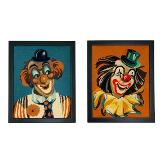 Pair Vintage Needlepoints in Frame For Sale