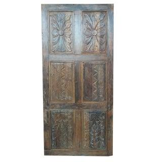 Indian Antique Hand Carved Teak Wood Door Panel For Sale