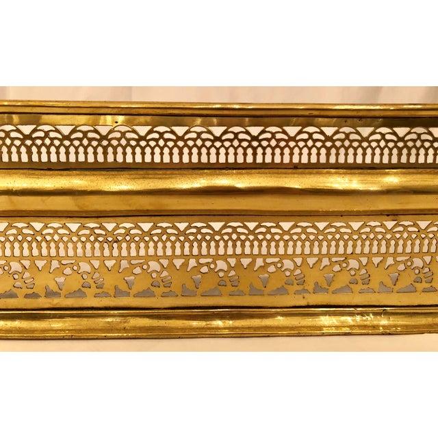 Antique Georgian Openwork Brass Fire Fender, Circa 1820.