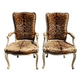 Image of Antique French Leopard Arm Chairs - a Pair For Sale