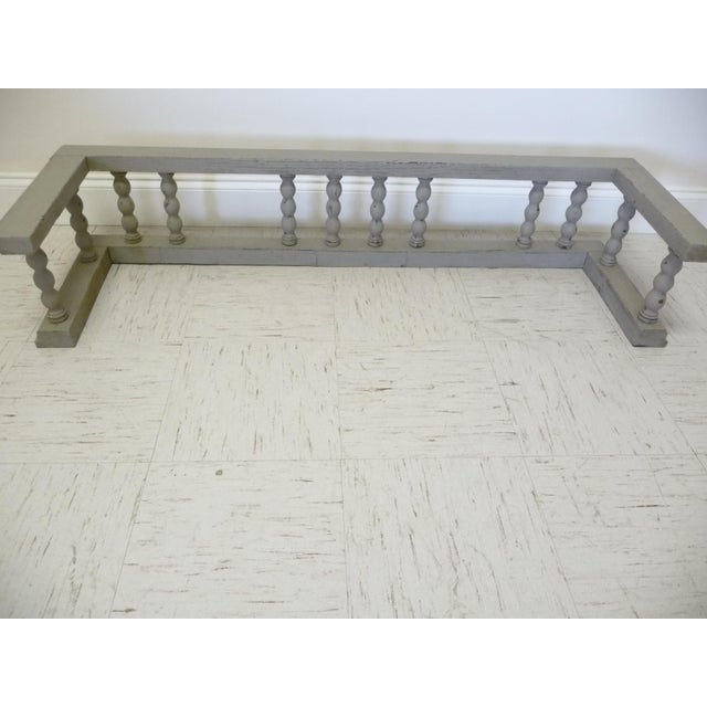 Late 19th Century Gray Antique European Oak Fireplace Fender W Spindles For Sale - Image 5 of 5
