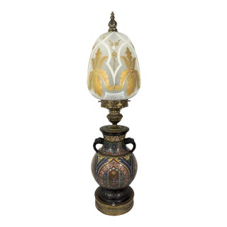 Antique Japanese Bronze Cloisonné Elephant Handled Table Lamp With Gold Glass Shade For Sale