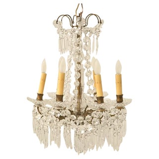 c.1940 Petite French Crystal 6-light Chandelier For Sale