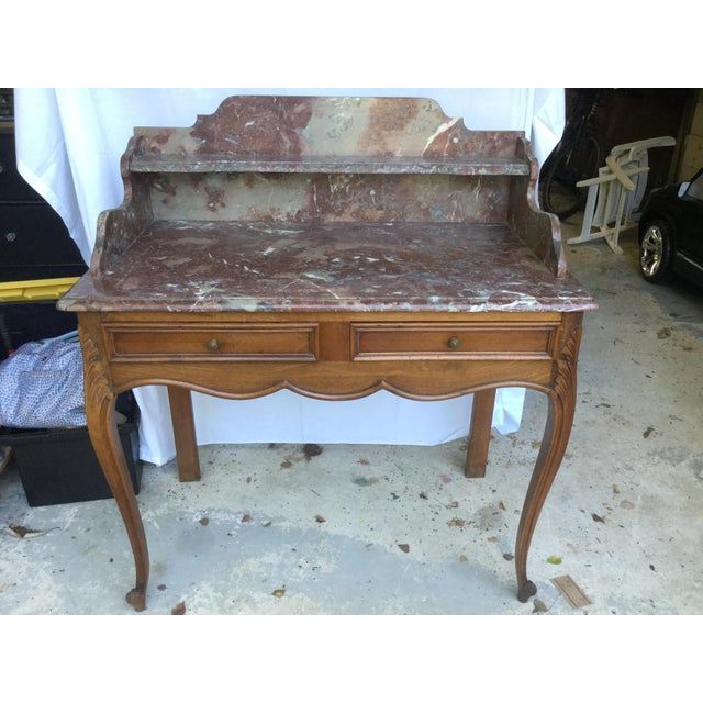 Very versatile French Louis XV-Style walnut Vanity/Dressing Table. Made of French walnut, this vanity features 2 drawers...