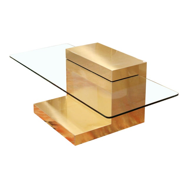Mid-Century Modern Paul Evans Cantilever Brass Glass Cityscape Coffee Table For Sale