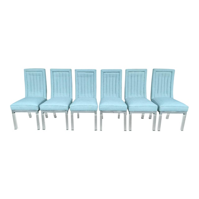 Charles Hollis Jones 1970's Lucite Legged High-Back Dining Chairs - Set of 6, Mid-Century Modern For Sale