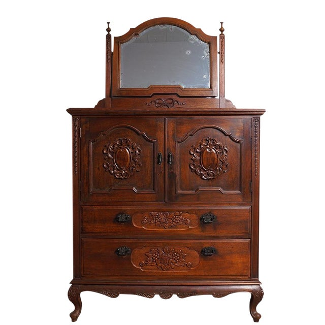 20th Century Chinese Raise Carved Dresser With Mirror For Sale