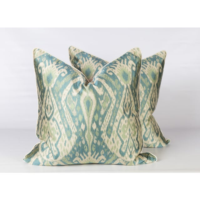 Teal & Green Sateen Ikat Pillows - A Pair For Sale - Image 5 of 5