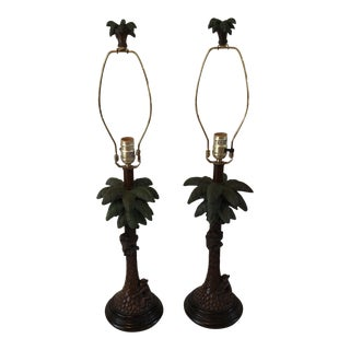 1960s Art Deco Bronze Monkey With Palm Tree Lamps - a Pair For Sale