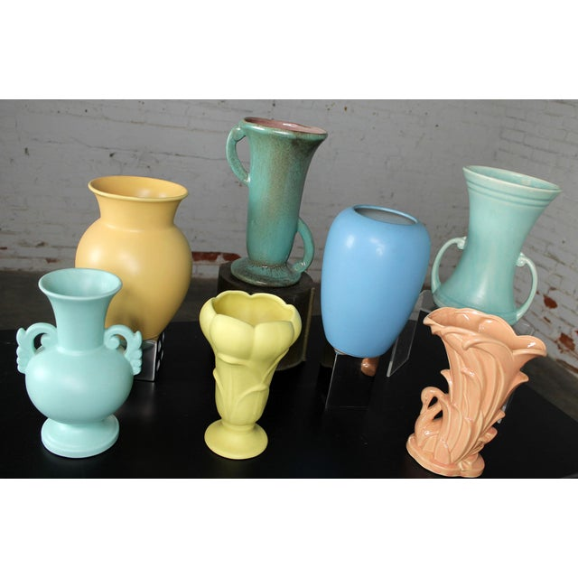 Mid-Century Modern Vintage Collection of Mid-Century Pottery Vases - Set of 7 For Sale - Image 3 of 11
