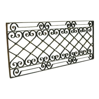 Antique Art Nouveau French Style Wrought Iron Scrolling Scrollwork 24x64 Gate For Sale
