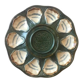 19th Century Longchamp Majolica Large Hand Painted Pedestal 10 Well Oyster Serving Platter For Sale