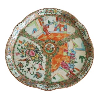 19th Century Chinese Rose Medallion 15 Inch Platter or Tray For Sale