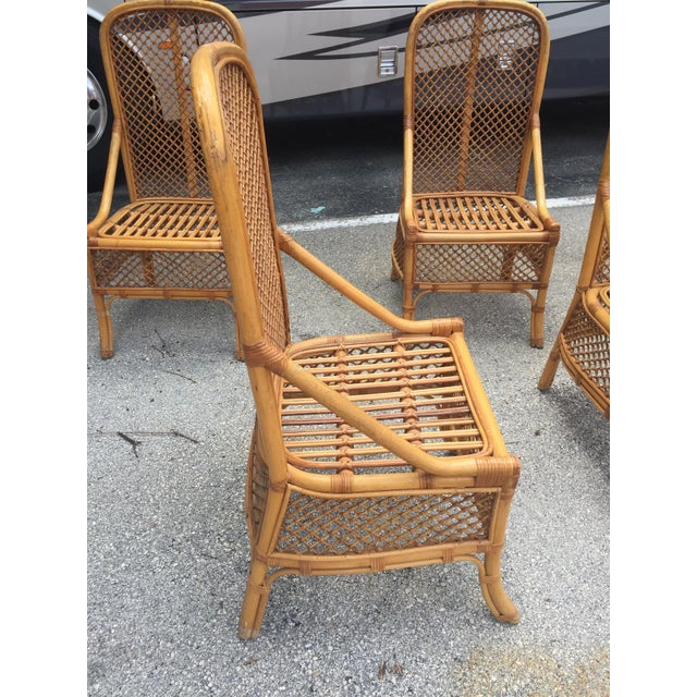1970s Vintage Chippendale Style Rattan Bamboo Dining Chairs- Set of 6 For Sale In Miami - Image 6 of 11