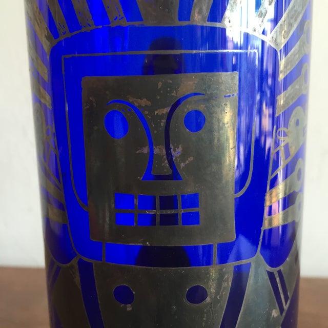 Blue Mid Century Cobalt Blue Mixer Set w/ Aztec Motif - 5 Piece Set For Sale - Image 8 of 9