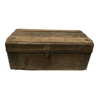 1910s Primitive Wood and Metal Trunk For Sale