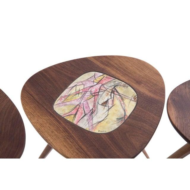 Four Lee Porzio & Allen Ditson Walnut Ceramic Side Tables For Sale In Phoenix - Image 6 of 11