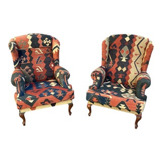 Kilim Wingback Chairs - a Pair For Sale