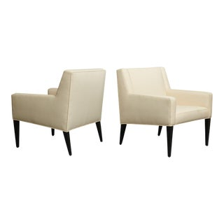 Edward Wormley Chairs in an off-white crepe - A Pair For Sale