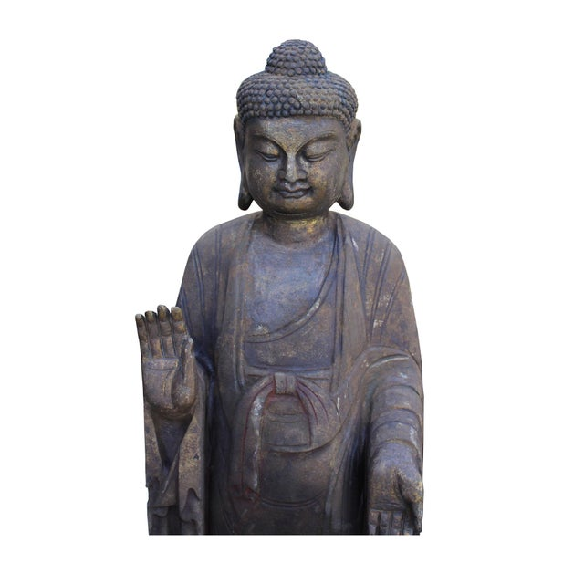 Stone Chinese Dark Gray Stone Carved Standing Abhaya Mudra Buddha Statue For Sale - Image 7 of 8