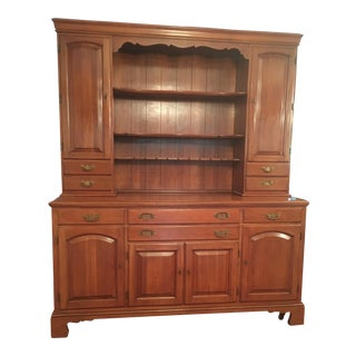 20th Century American Classical Statton 2 Piece Cherry Hutch For Sale